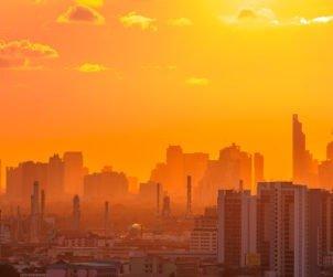 Twilight sunset over Bangkok city