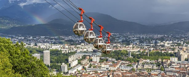 Aerial view of Grenoble city, France