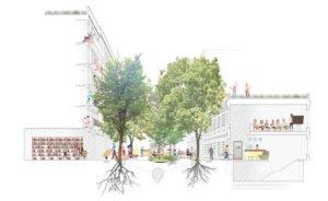 Une politique intensive de plantation dans les rues, désormais rendues aux usagers faibles, permettra de réduire l'impact de la chaleur en été. © Ajuntament de Barcelona.